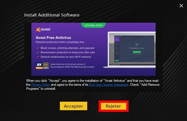 Rejeter pour éviter d'avoir trop de logiciel sur votre ordinateur