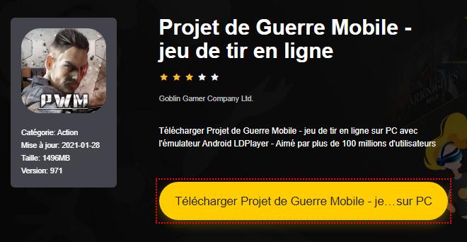 Installer Projet de Guerre Mobile - jeu de tir en ligne sur PC