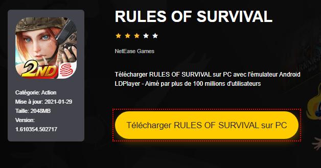 Installer RULES OF SURVIVAL sur PC