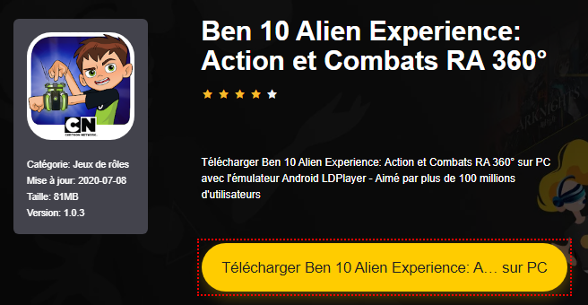 Installer Ben 10 Alien Experience: Action et Combats RA 360° sur PC