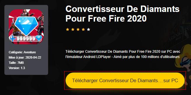 Installer Convertisseur De Diamants Pour Free Fire 2020 sur PC