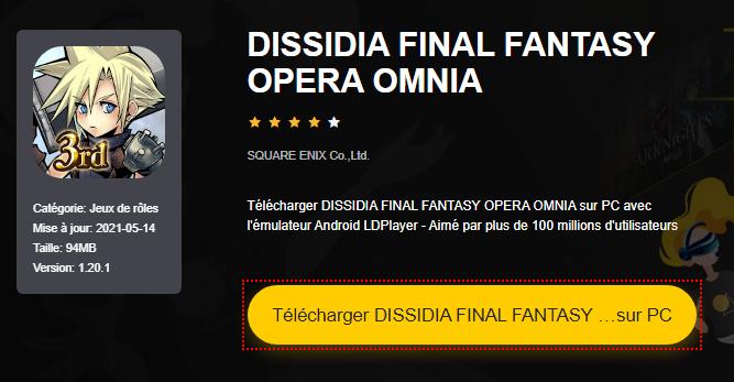 Installer DISSIDIA FINAL FANTASY OPERA OMNIA sur PC