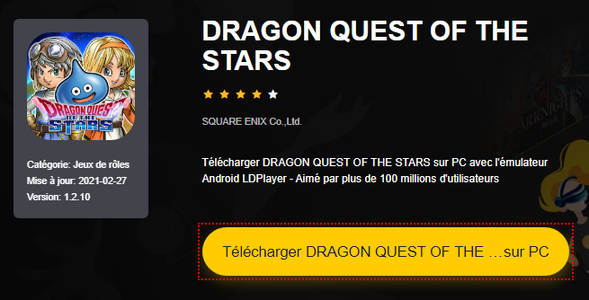 Installer DRAGON QUEST OF THE STARS sur PC