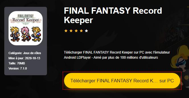Installer FINAL FANTASY Record Keeper sur PC