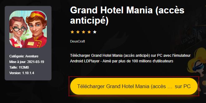 Installer Grand Hotel Mania (accès anticipé) sur PC