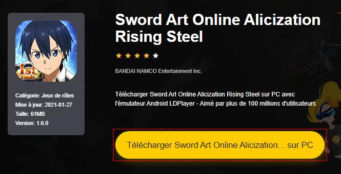 Installer Sword Art Online Alicization Rising Steel sur PC