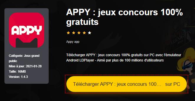 Installer APPY : jeux concours 100% gratuits sur PC