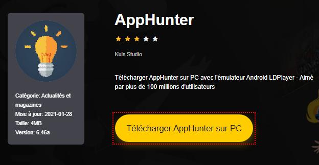 Installer AppHunter sur PC