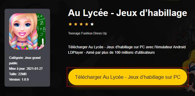 Installer Au Lycée - Jeux d'habillage sur PC