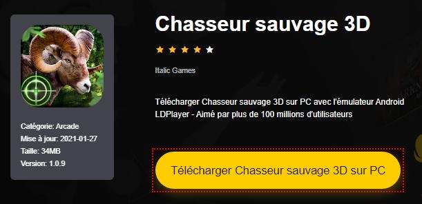 Installer Chasseur sauvage 3D sur PC