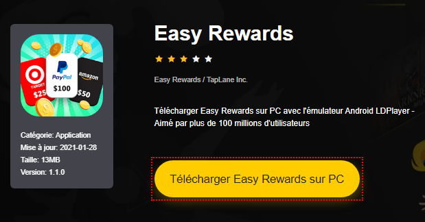Installer Easy Rewards sur PC
