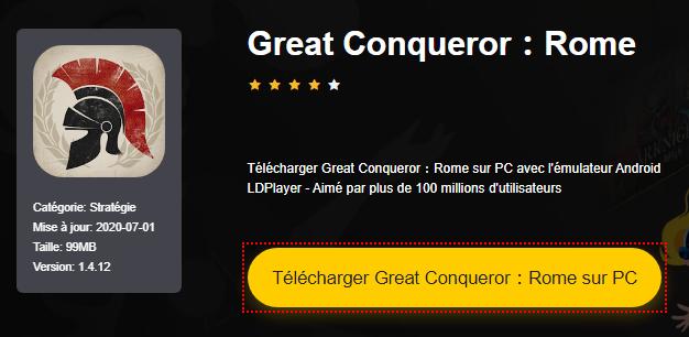 Installer Great Conqueror:Rome sur PC