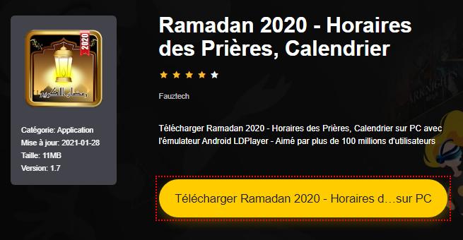 Installer Ramadan 2020 - Horaires des Prières, Calendrier sur PC