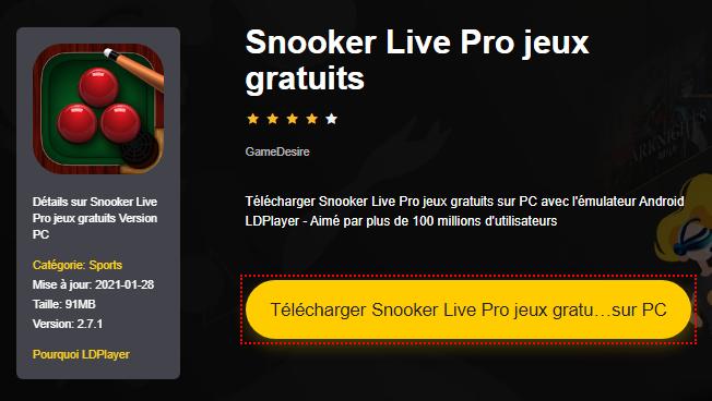 Installer Snooker Live Pro jeux gratuits sur PC