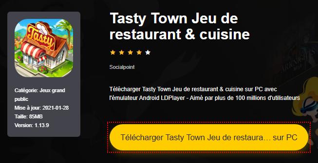Installer Tasty Town Jeu de restaurant & cuisine sur PC