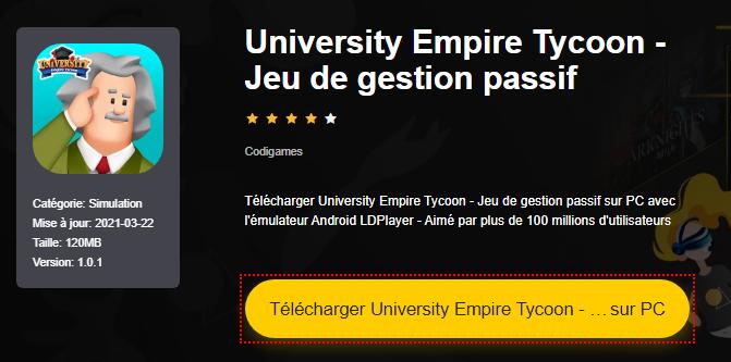 Installer University Empire Tycoon - Jeu de gestion passif sur PC