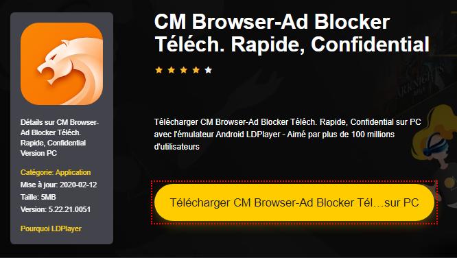 Installer CM Browser-Ad Blocker Téléch. Rapide, Confidential sur PC