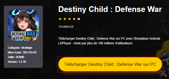 Installer Destiny Child : Defense War sur PC