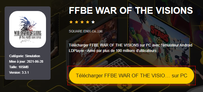 Installer FFBE WAR OF THE VISIONS sur PC