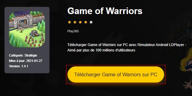 Installer Game of Warriors sur PC