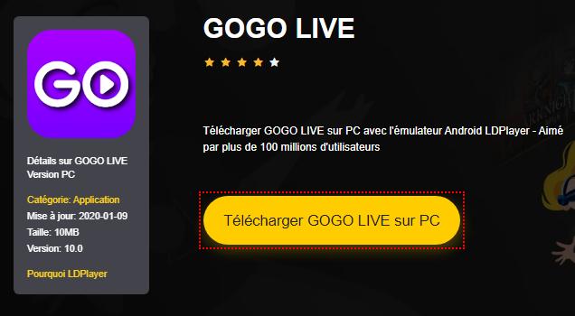 Installer GOGO LIVE sur PC