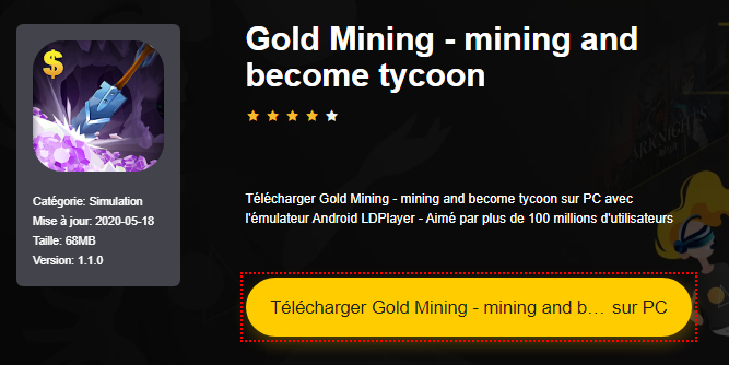 Installer Gold Mining - mining and become tycoon sur PC
