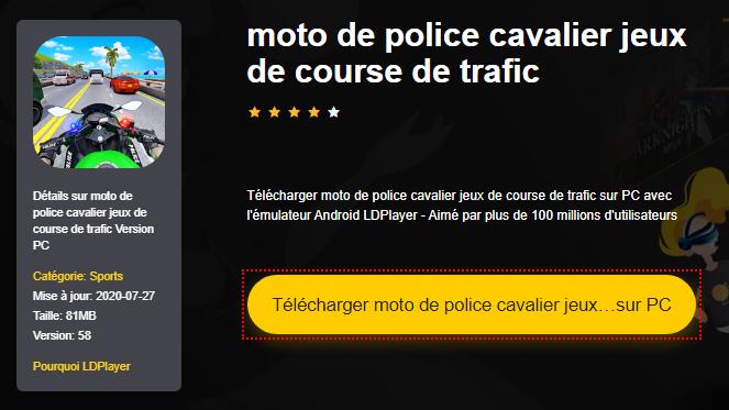 Installer moto de police cavalier jeux de course de trafic sur PC