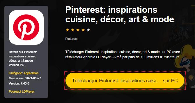 Installer Pinterest: inspirations cuisine, décor, art & mode sur PC