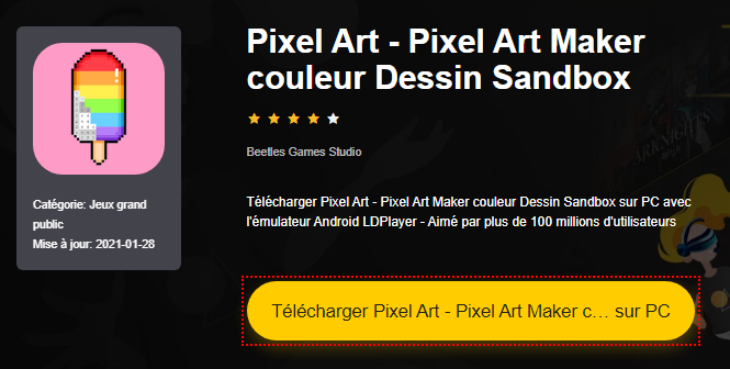 Installer Pixel Art - Pixel Art Maker couleur Dessin Sandbox sur PC