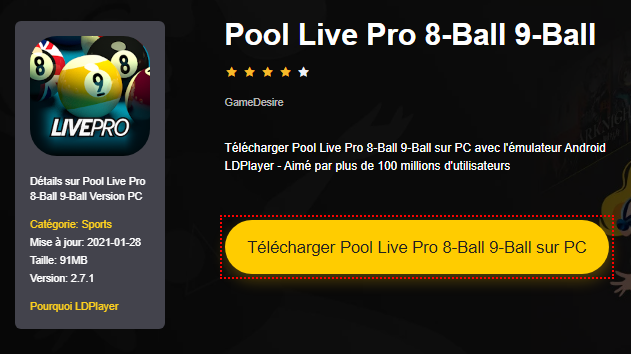 Installer Pool Live Pro 8-Ball 9-Ball sur PC