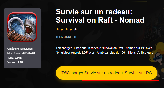 Installer Survie sur un radeau: Survival on Raft - Nomad sur PC